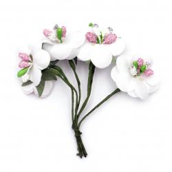Buchet de flori textile 30x90 mm culoare stamină alb -6 bucăți