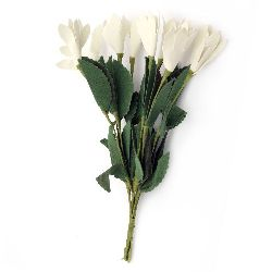 Flower bouquet 20x30x190 mm rubber and wire, white - 10 pieces