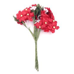 Artificial bouquet red flowers for embellishment of tiaras, hairpins 20x120 mm - 6 pieces