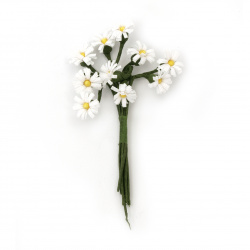 Daisy bouquet 12x90 mm white and yellow - 10 pieces