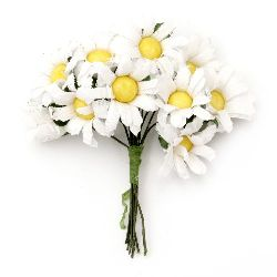 Daisy bouquet 25x80 mm white and yellow - 10 pieces