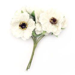 Textile bouquet  Flowers with stamens 45x120 mm color champagne - 6 pieces