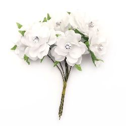 Textile bouquet  Flowers with pearls 35x100 mm color crystal white - 6 pieces