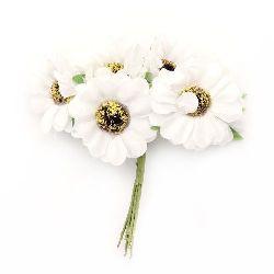 Buchet de flori textil 45x110 mm alb -6 bucăți