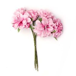 Flower bouquet carnation or festive table decoration, greeting cards, albums 35x110 mm stamen light pink - 6 pieces