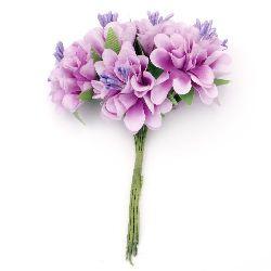 Buchet de flori garoafe 35x110 mm stamen violet deschis-6 bucăți