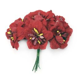 Textile bouquet  Flowers with stamens 40x90 mm color red - 6 pieces
