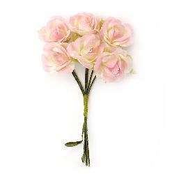 Rose textile bouquet 22x100 mm light pink for festive table decoration, greeting cards, albums - 6 pieces