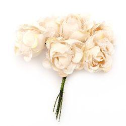 Роза букет текстил и дантела 35x110 мм къдрава цвят праскова -6 броя