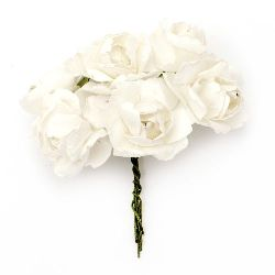 Bouquet of paper curly Roses with wire stems for decoration 25x70 mm white - 6 pieces