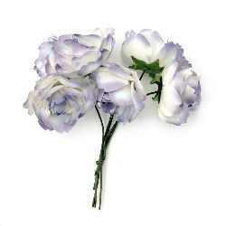 Bouquet of paper curly Roses with wire stems for decoration 25x70 mm white and purple - 6 pieces
