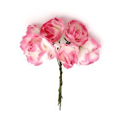 Bouquet of paper curly Roses with wire stems for decoration 25x70 mm white and pink dark - 6 pieces