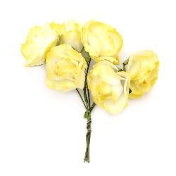 Bouquet of paper curly Roses with wire stems for decoration 25x70 mm  white and yellow - 6 pieces