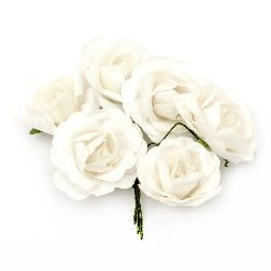 Bouquet of paper curly Roses with wire stems for decoration 35x80 mm white - 6 pieces