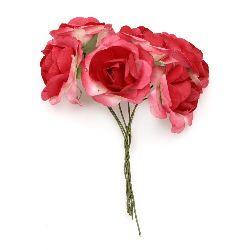 Buchet de trandafir de hârtie și sârmă de 35x80 mm roșu buclat -6 bucăți