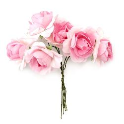 Bouquet of paper curly Roses with wire stems for decoration 35x80 mm light pink - 6 pieces