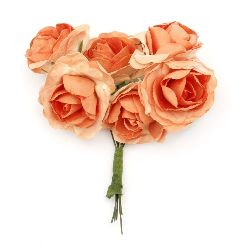 Bouquet of paper curly Roses with wire stems for decoration 35x80 mm orange - 6 pieces