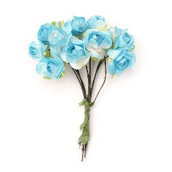 Bouquet of paper Roses with wire stems 18x70 mm color white and blue - 10 pieces
