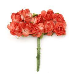 Buchet trandafir de hârtie și sârmă 18x70 mm alb și portocaliu -10 bucăți