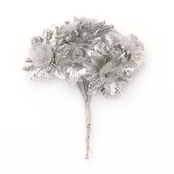Flower bouquet textiles and organza 40x110 color silver - 6 pieces