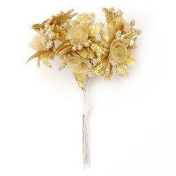 Textile and organza bouquet Flowers 40x110 mm color gold - 6 pieces