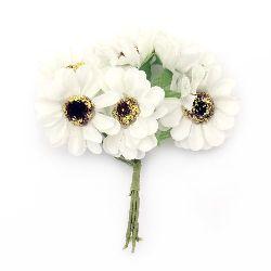 Textile bouquet  Flowers with stamens 45x110 mm color champagne - 6 pieces
