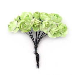 Bouquet of paper Roses with wire stems for decoration 20x70 mm green light and white - 12 pieces