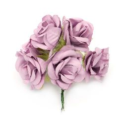 Bouquet of paper  Roses with wire stems for decoration 35x80 mm light purple - 6 pieces