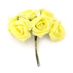Роза букет гумирана 35~40x115 мм жълта -6 броя