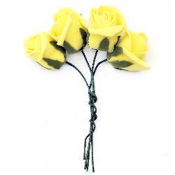 Роза букет гумирана 40x45 мм дръжка 130 мм жълта -4 броя