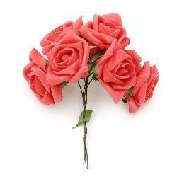 Роза букет гумирана 35~40x115 мм червена -6 броя