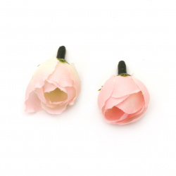 Flower rose 20 mm with stump for installation white/pink - 10 pieces
