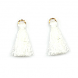 Fabric Tassel 10x3 mm with metal ring, color white - 20 pieces
