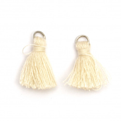 Fabric Tassel 10x3 mm with metal ring color ecru - 20 pieces