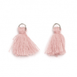 Fabric Tassel 10x3 mm with metal ring color light pink - 20 pieces