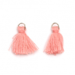 Fabric Tassel 10x3 mm with metal ring color pink - 20 pieces