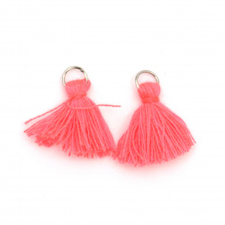 Fabric Tassel 10x3 mm with metal ring color pink electric - 20 pieces