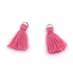 Fabric Tassel 10x3 mm with metal ring color deep pink - 20 pieces