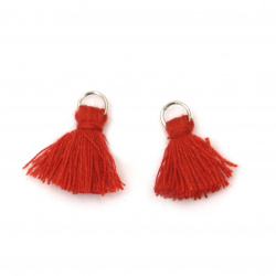 Fabric Tassel 10x3 mm with metal ring color red - 20 pieces