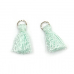 Fabric Tassel 10x3 mm with metal ring mint color - 20 pieces