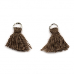 Fabric Tassel 10x3 mm with metal ring brown color - 20 pieces