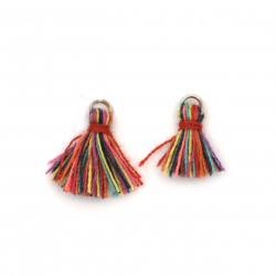 Fabric Tassel 10x3 mm with metal ring color multicolor - 20 pieces