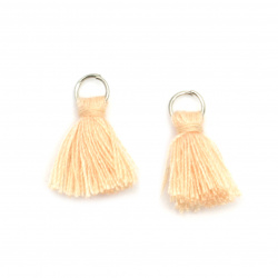 Fabric Tassel 16x5 mm with metal ring peach color - 20 pieces