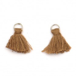 Fabric Tassel 16x5 mm with metal ring color light brown - 20 pieces