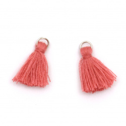 Fabric Tassel 16x5 mm with metal ring color coral - 20 pieces
