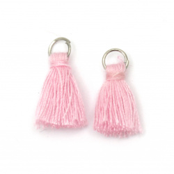 Fabric Tassel 16x5 mm with metal ring pink - 20 pieces