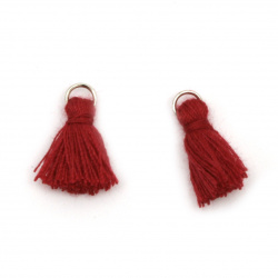Fabric Tassel 16x5 mm with metal ring dark red - 20 pieces