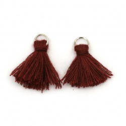 Fabric Tassel 16x5 mm with metal ring color dark red - 20 pieces