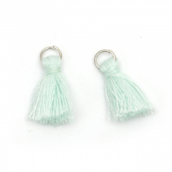 Fabric Tassel 16x5 mm with metal ring mint color - 20 pieces