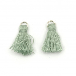 Fabfic Tassel 16x5 mm with metal ring pale green - 20 pieces